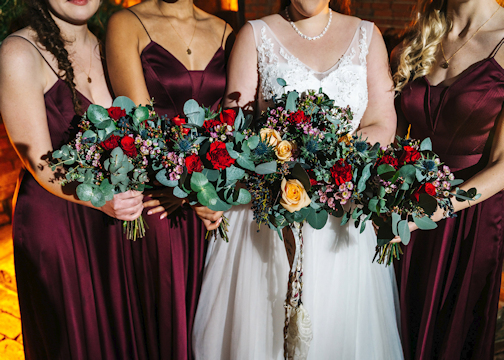 Close up a Bride and Bridesmaids Bouquets
