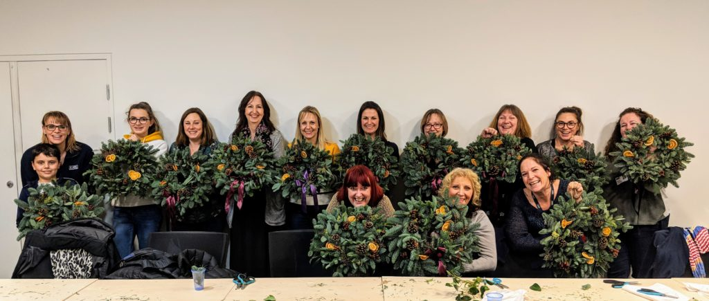 Wreath making workshops for businesses.