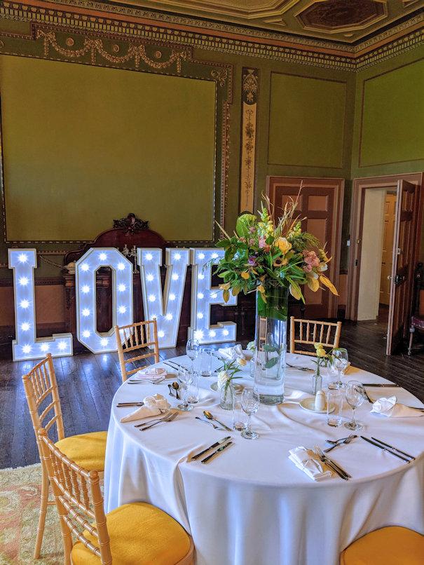 Wedding light up love letters.