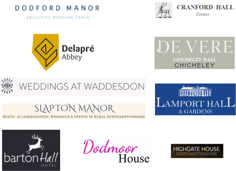 florry has worked across northamptonshire and buckinghamshire at these wedding venues.