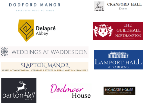 Northamptonshire Wedding Venue logos. Shows the logos for Delapre Abbey, Slapton Manor, Dodford Manor, The Guildhall Northampton, Barton Hall Hotel, Dodmoor House, Lamport Hall, and Highgate House.