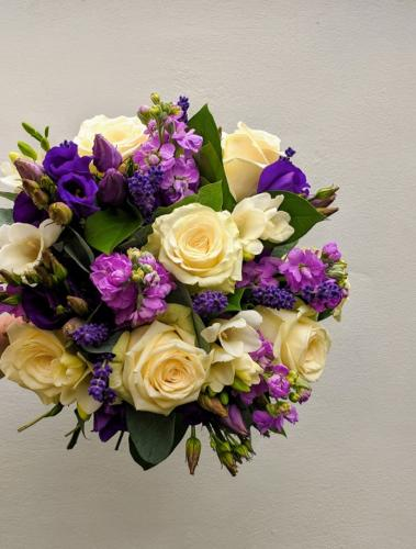 Purple and Cream Brides Bouquet
