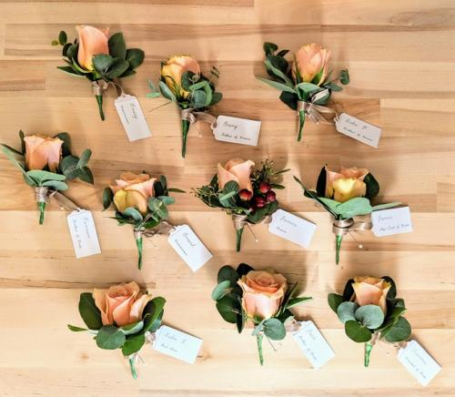 Peach Rose Buttonhole